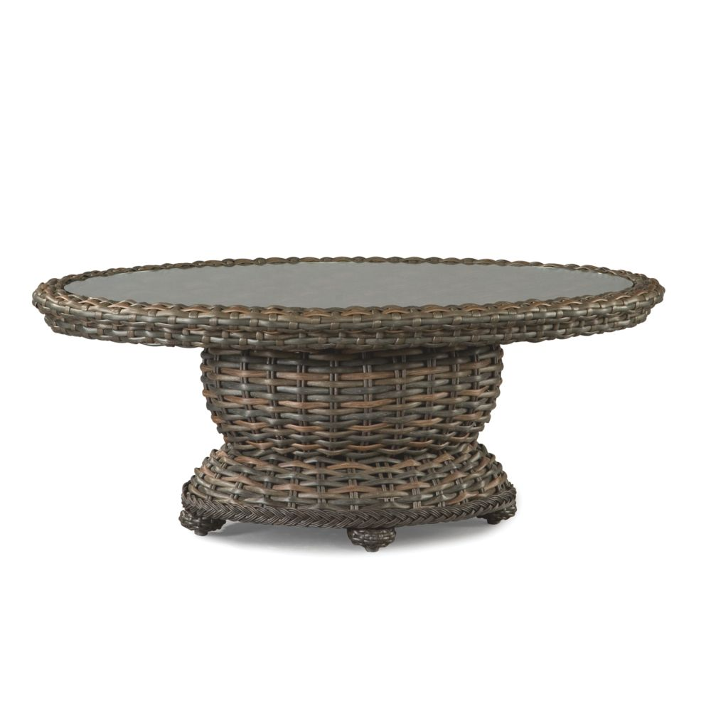 LANE VENTURE South Hampton Oval Cocktail Table with Woven Top