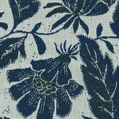 Fabric Swatch:  JACOBEAN FLORAL INDIGO