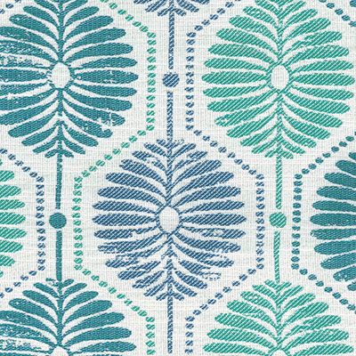 Fabric Swatch:  BLOCK PRINT PETALS AQUA
